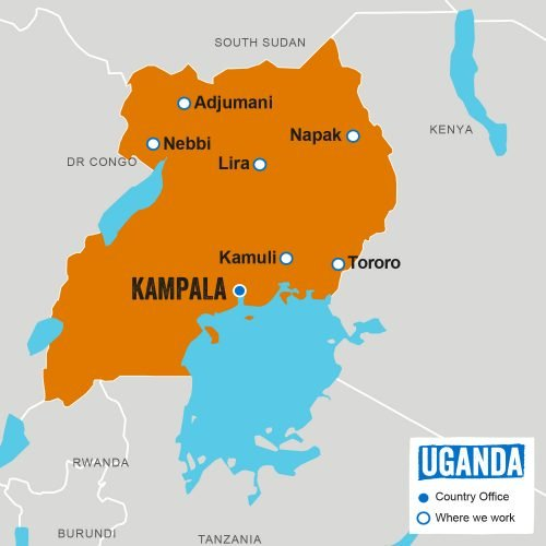 Map of Uganda featuring location of our Country Office and where we work.Last updated: April 2019